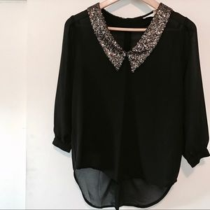 Black w/Gold Sequence Blouse Sz. S